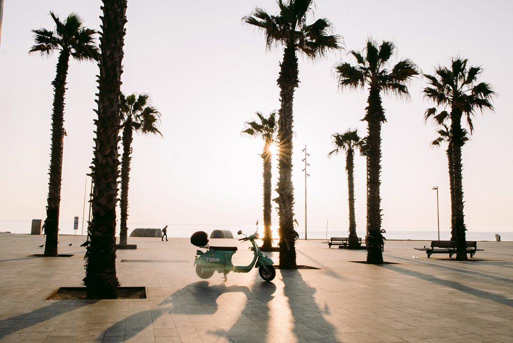 Palmen und ein mint-grüner Elektroroller in Barcelona