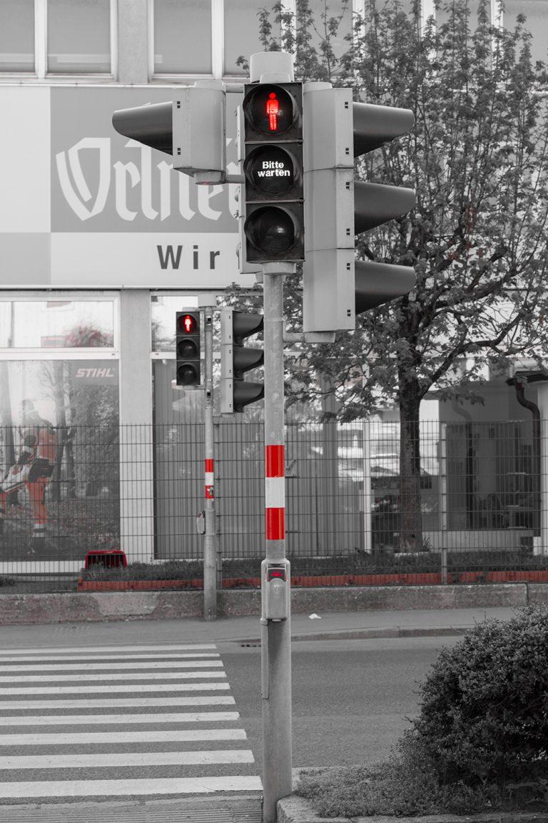 Rote Fußgängerampel