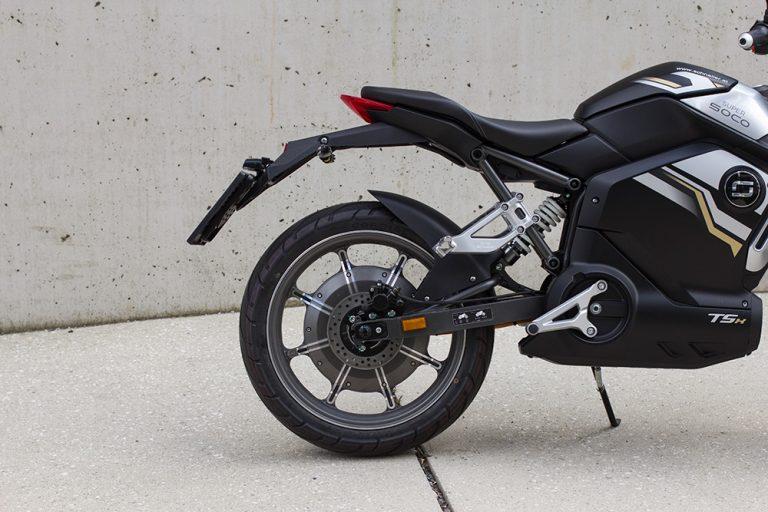 Hinterrad des E-Motorrads