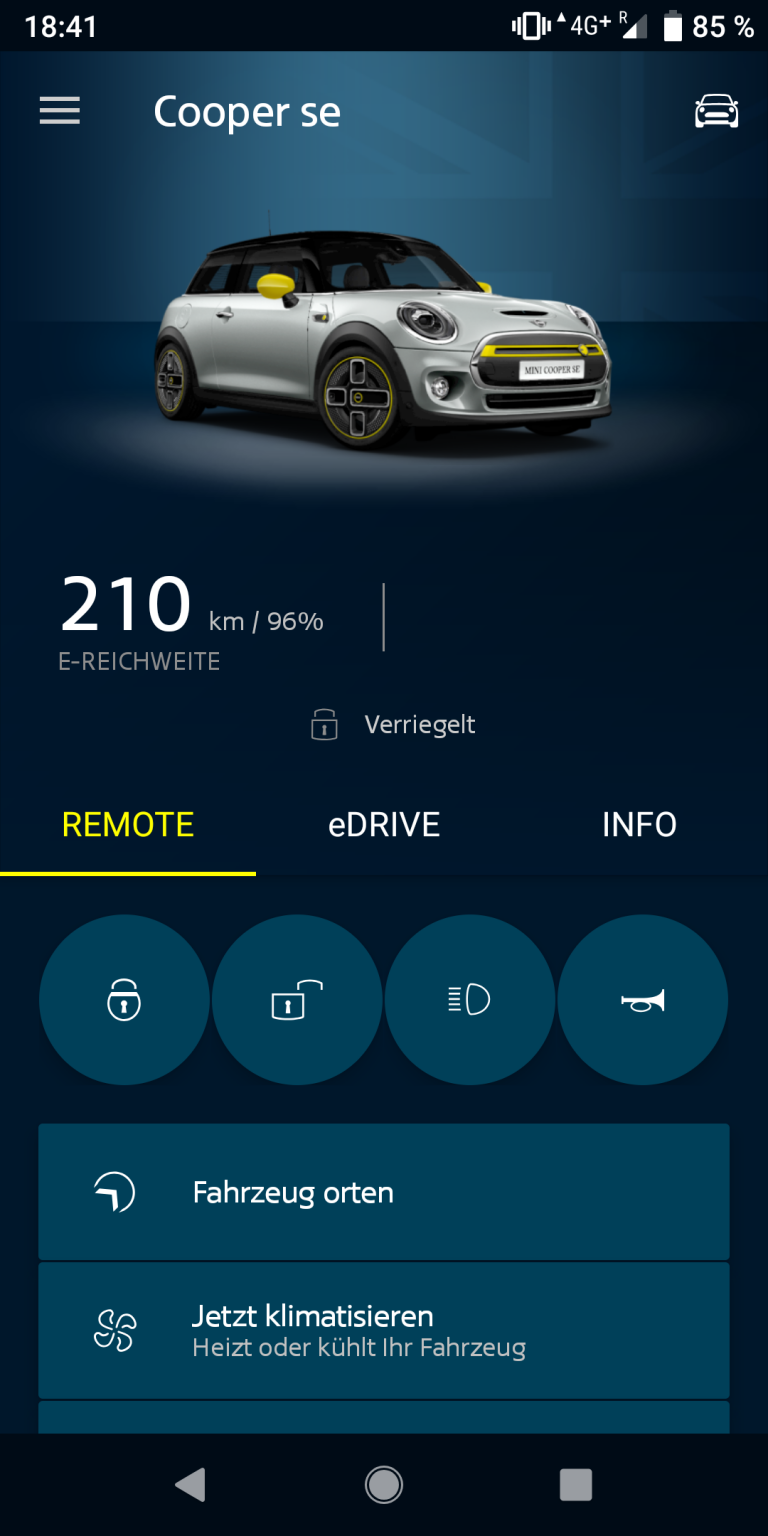 Screenshot der App für den Mini Cooper SE