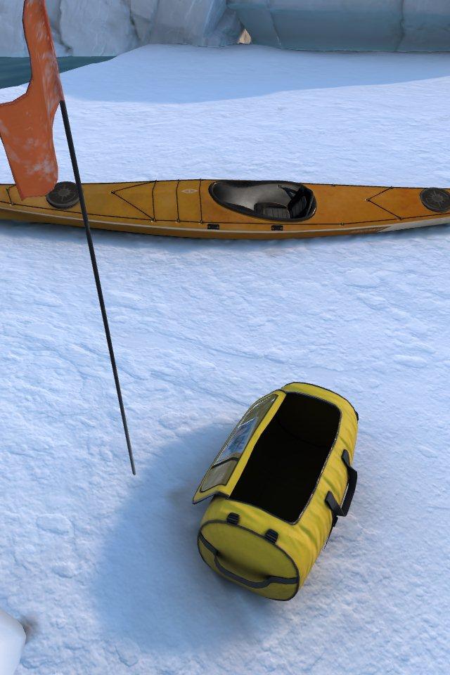Ausrüstung und Kanu auf einer Eisfläche