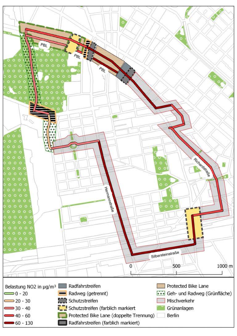 Grafik zur Schadstoffbelastung auf unterschiedlichen Radwegen in Berlin Neukölln