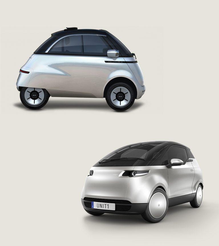 Die Fahrzeuge Microlino und Uniti One nebeneinander