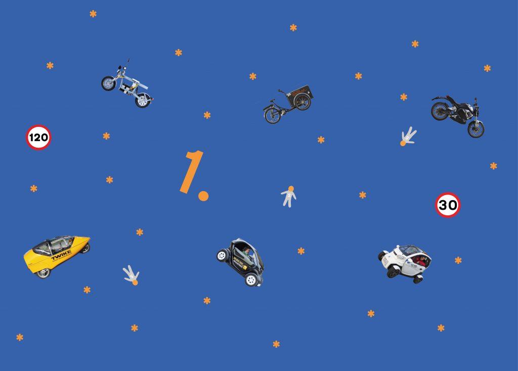 fliegende Fahrzeuge vor blauem Hintergrund
