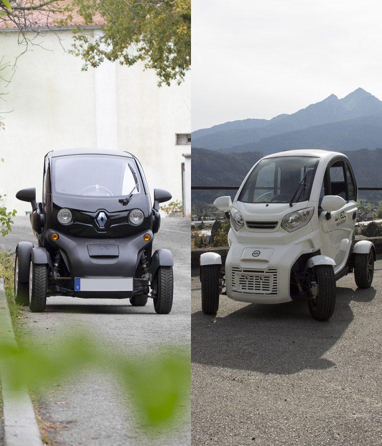 Der Renault Twizy und das Weezl 4.0 nebeneinander