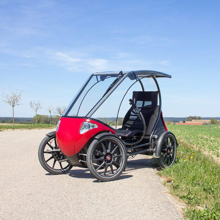 Das Solar velomobil Pedilio in rot